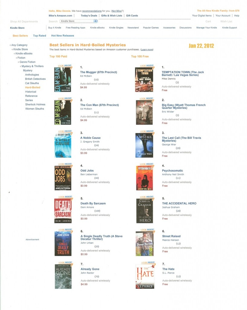 Screenshot of Amazon Best Sellers Jan 22, 2012